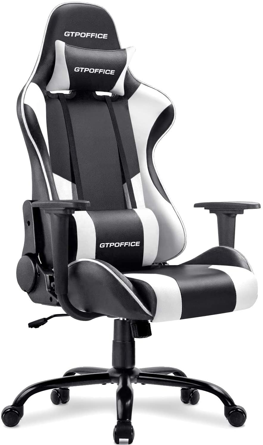 GTRACING White Gaming Chair with Massage Lumbar Support for $94.99 + $9.99 Delivery