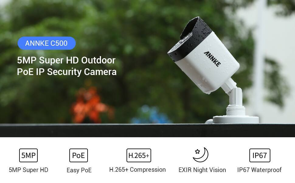 ANNKE C500 5MP PoE Security Camera, H.265+ Video Compression, Onvif Compliant $39.99 + Free Shipping