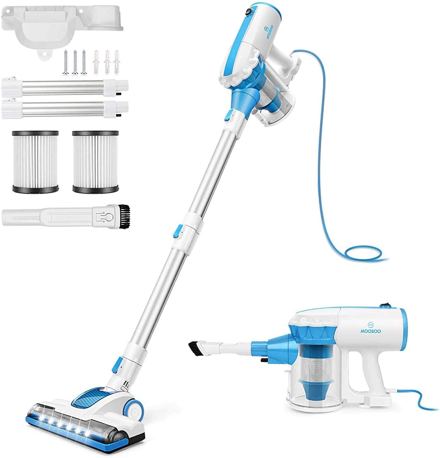 MOOSOO 4 in 1 Corded Stick Vacuum Cleaner with 2Pcs HEPA $54.98 + Free Shipping