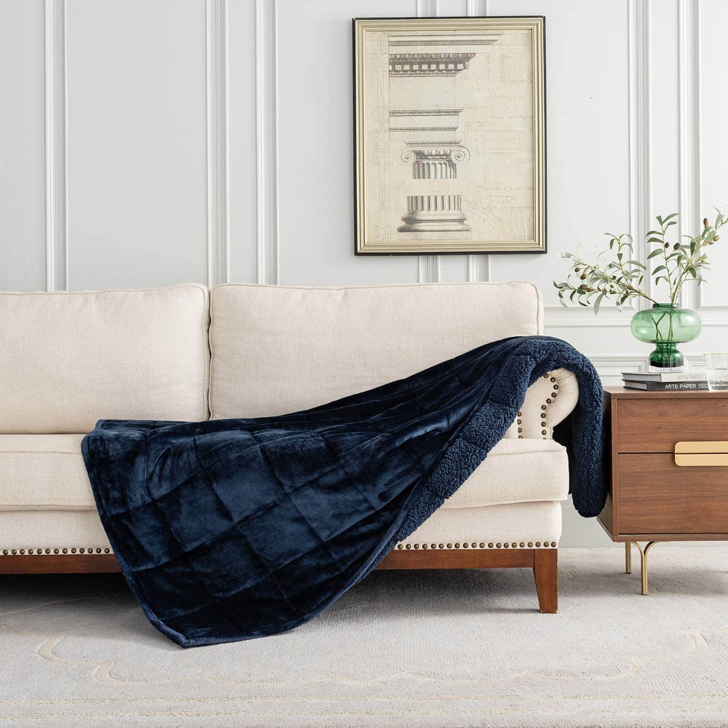"""BUZIO New Unicolor Sherpa Fleece Weighted Blanket 48""""x72"""" 15lbs for $29.99 + Free Shipping"""