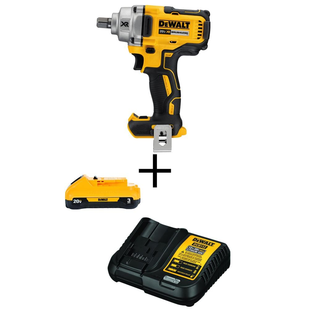 Power Tool - DeWalt 20-Volt MAX Cordless Brushless 1/2 in. Impact Wrench with Free 20-Volt MAX Battery 3.0Ah & Charger $199