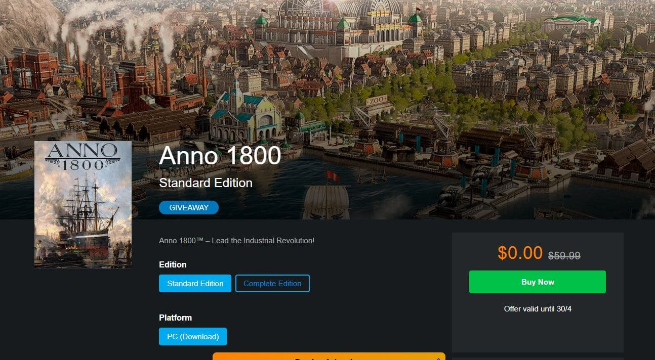 Anno 1800 @Ubisoft for - FREE