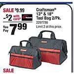 "13"" and 18"" Craftsman Tool Bag Combo $8 - Ace Hardware B&M"
