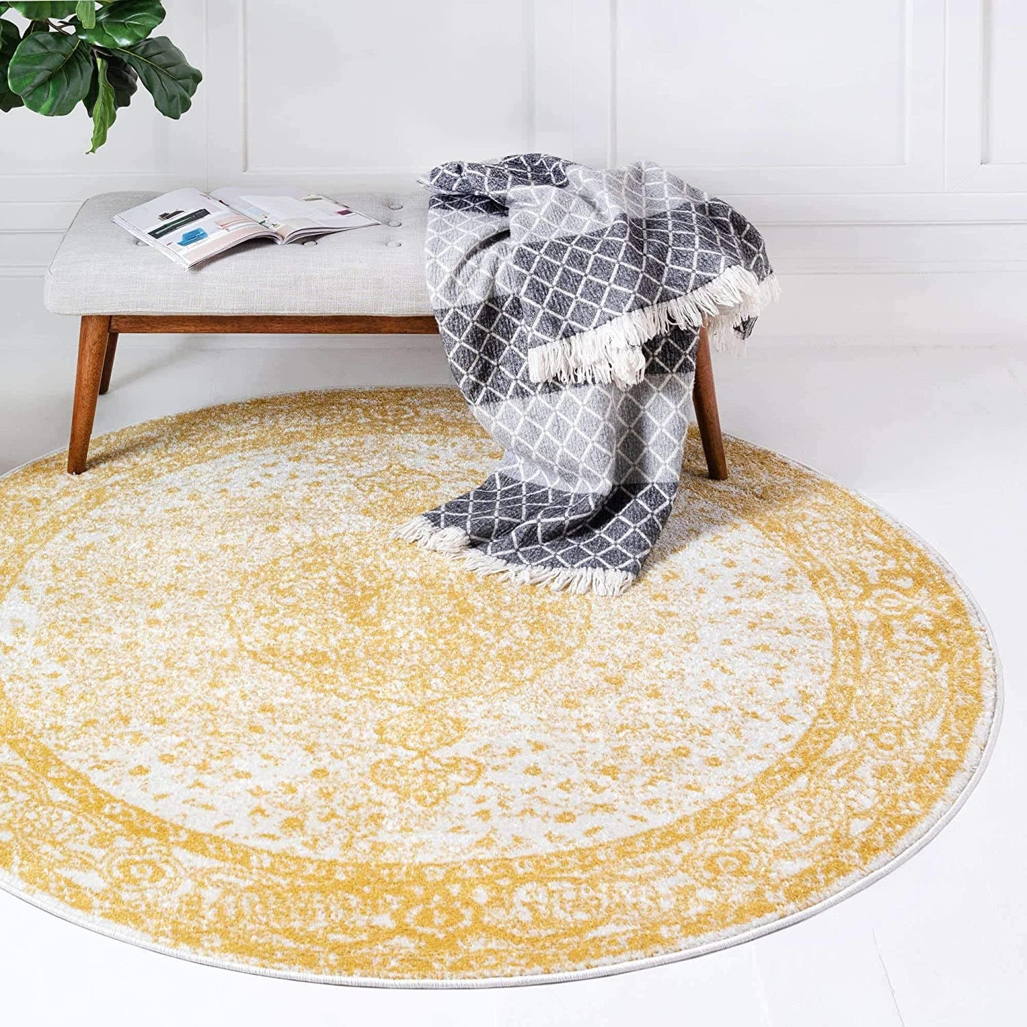 5' Round Unique Loom Bromley Collection Yellow Area Rug $28 + Free Shipping