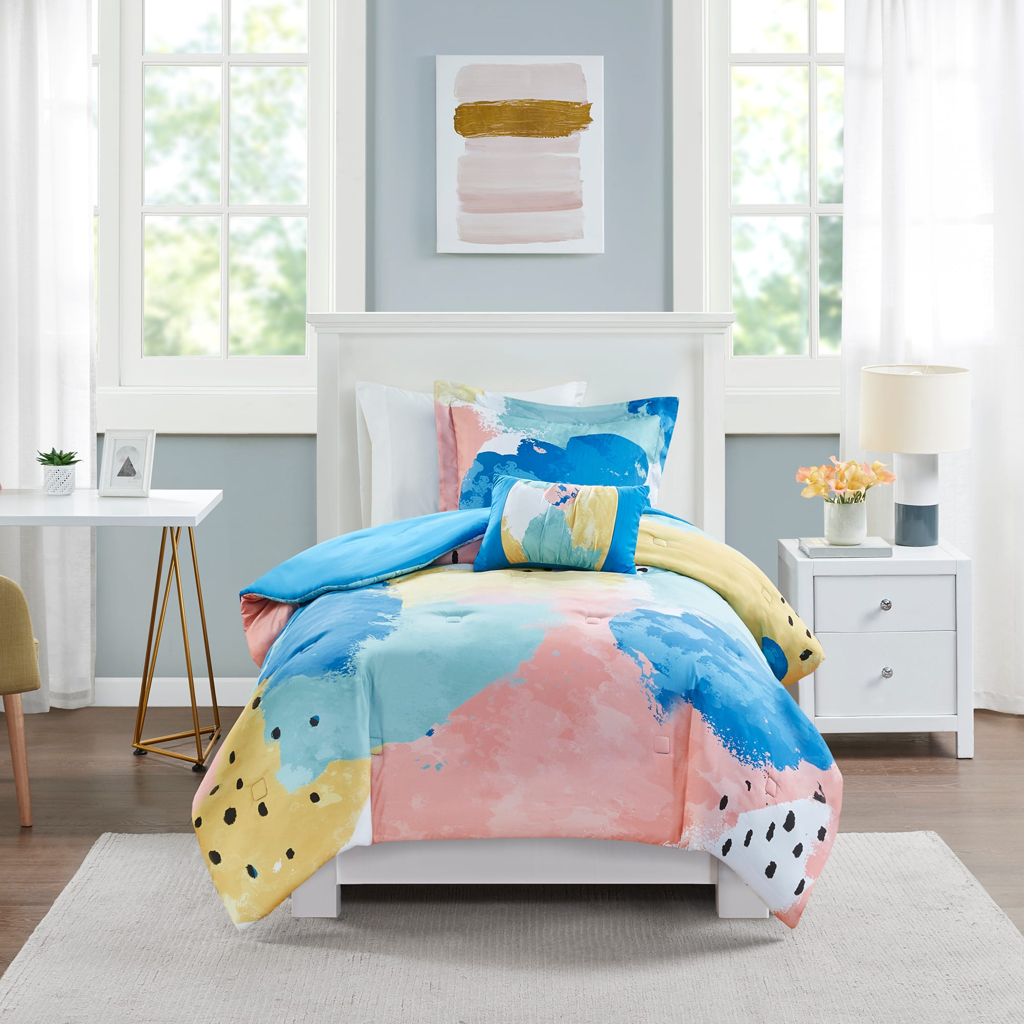 3-Pc Mainstays Multi-Color Pastel Brush Strokes Comforter Set (Twin/Twin XL) $12.70 + Free Shipping w/ Amazon Prime or Orders $25+