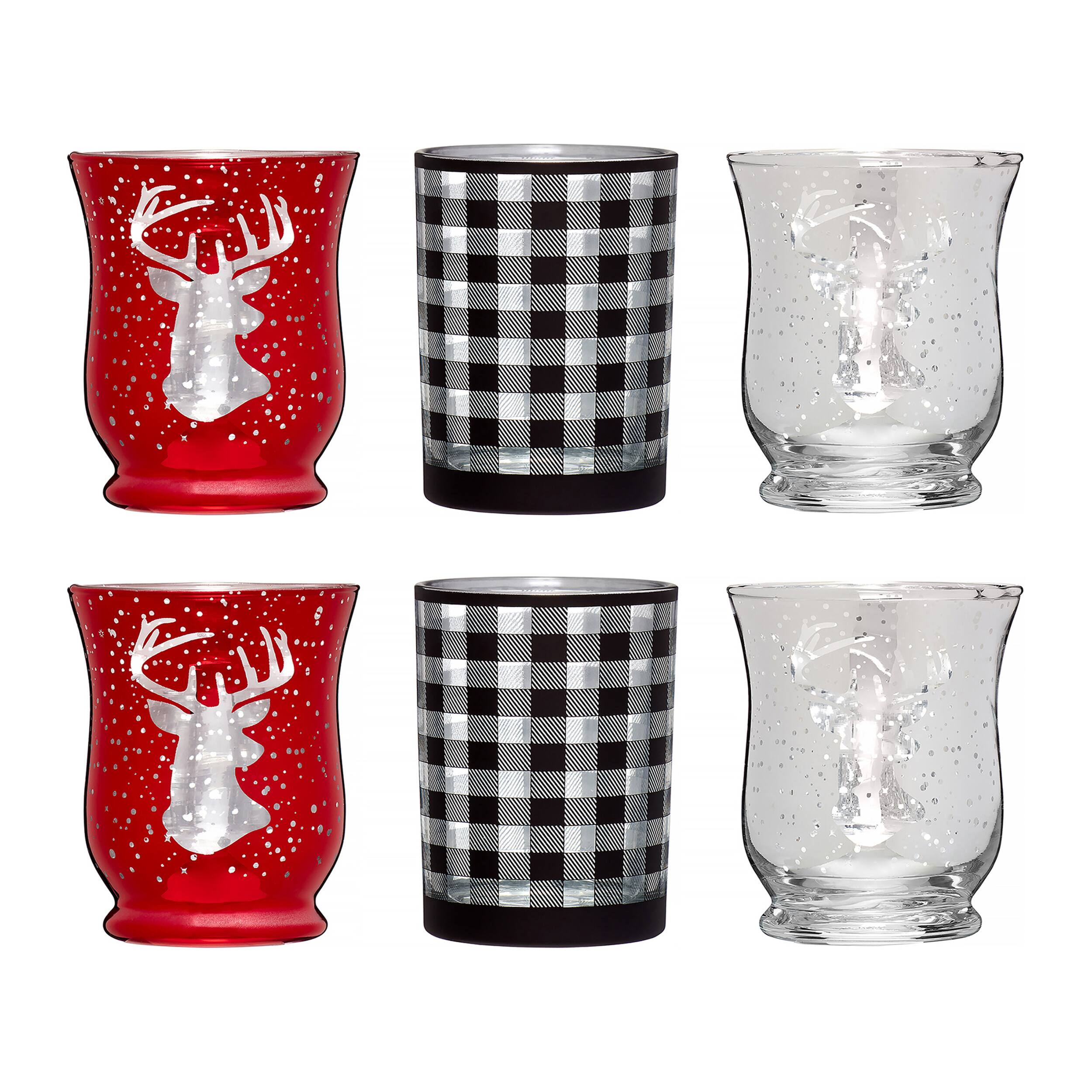 6-Pc Holiday Time Small Stag & Check Glass Votives $4 & More + Free Store Pickup at Walmart
