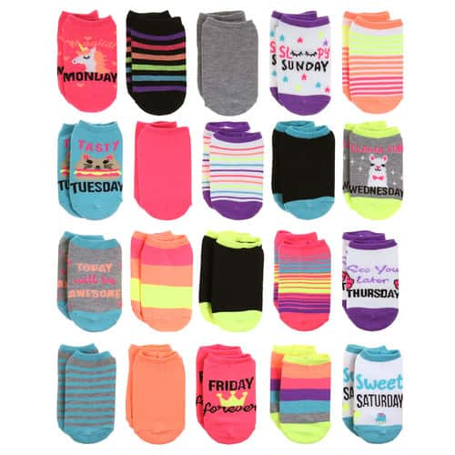 Kohl's Cardholders: 20-Pack Girls (4-16) Elli By Capelli Day of the Week No-Show Socks $7 & More + Free Shipping