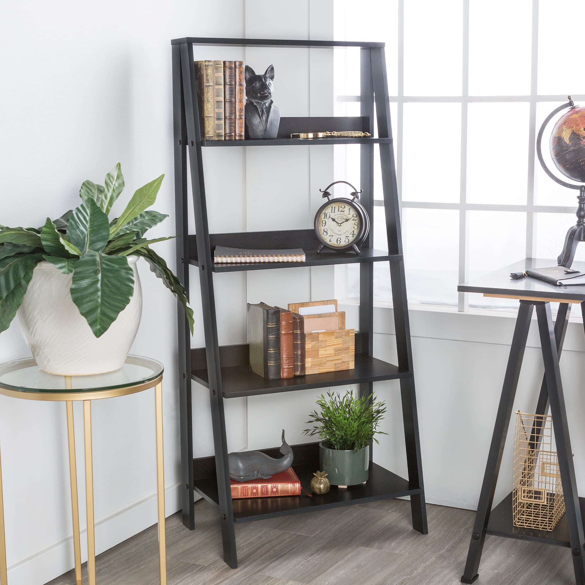 4-Shelf Manor Park Wood Leaning Ladder Bookshelf (black, gray, or white) $49 + Free Shipping