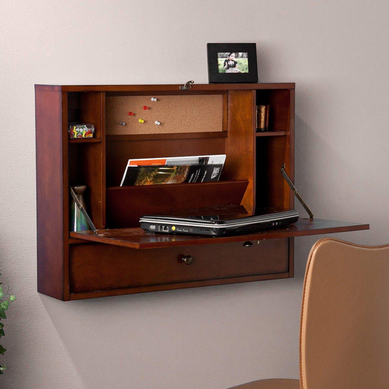 SEI Wall-Mounted Fold Down Laptop Desk w/ Drawer (brown mahagony) $76 + Free Shipping