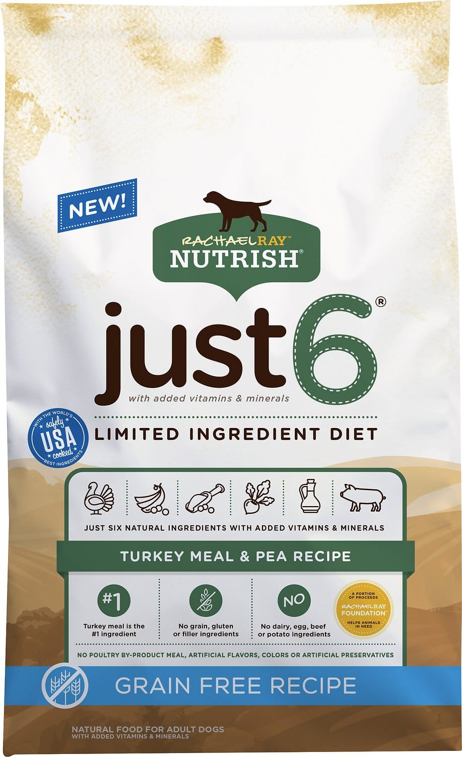 24-Lbs Rachael Ray Nutrish Just 6 Natural Grain-Free Limited Ingredient Diet Dry Dog Food $17.10 or less w/ Autoship + Free Shipping $49+