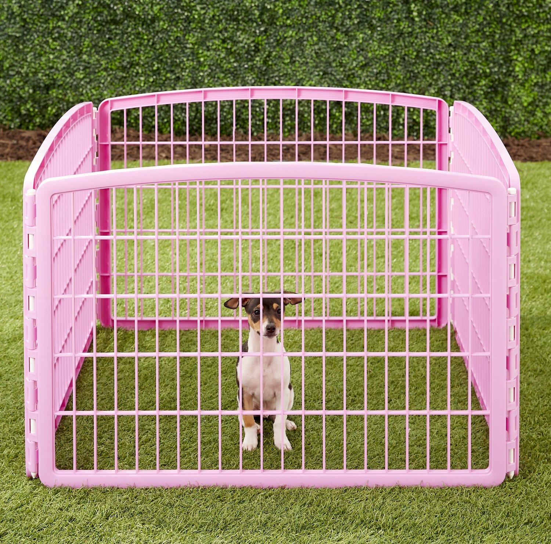 "Iris 4-Panel 8 Sq Ft Dog Playpen (pink) + 24"" Midwest Powder Blue Plush Dog Crate Mat + Booda Bone X-Small Rope Dog Toy $31 + Free Shipping"