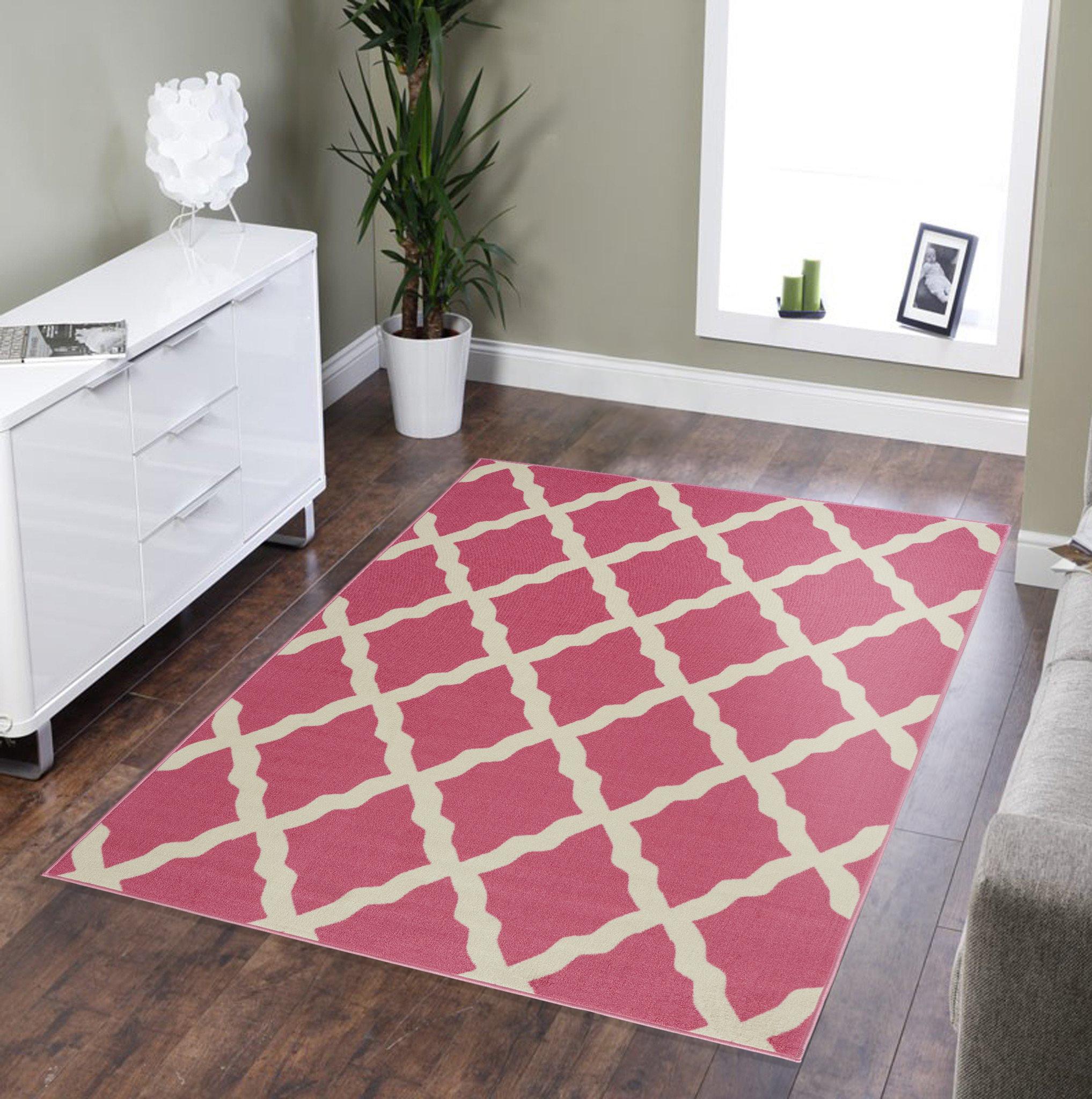 "5' x 6'6"" Ottomanson Glamour Collection Moroccan Geometric Trellis Area Rug: Dark Pink $27.80, Blue $32, Dark Grey $33.15 & More + F/S $35+"