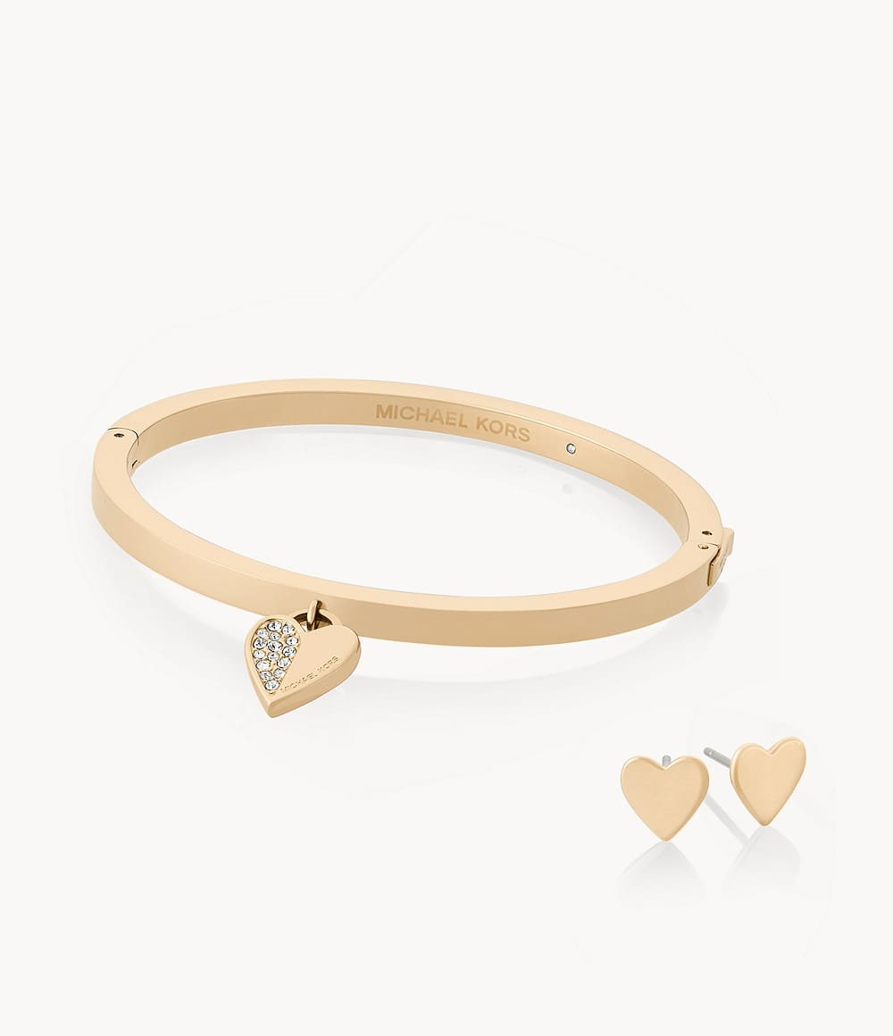 Michael Kors Women's Jewelry: Heart Hinge Bangle & Stud Earrings Set $24.15, 14k Rose Gold-plated Sterling Silver Cz Cluster Studs $25.50 & More + F/S