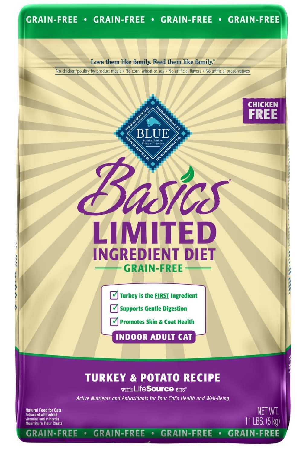 11-Lbs Blue Buffalo Basics Limited Ingredient Diets Indoor Adult or Mature Dry Cat Food $16.60 w/ S&S + Free Shipping w/ Amazon Prime