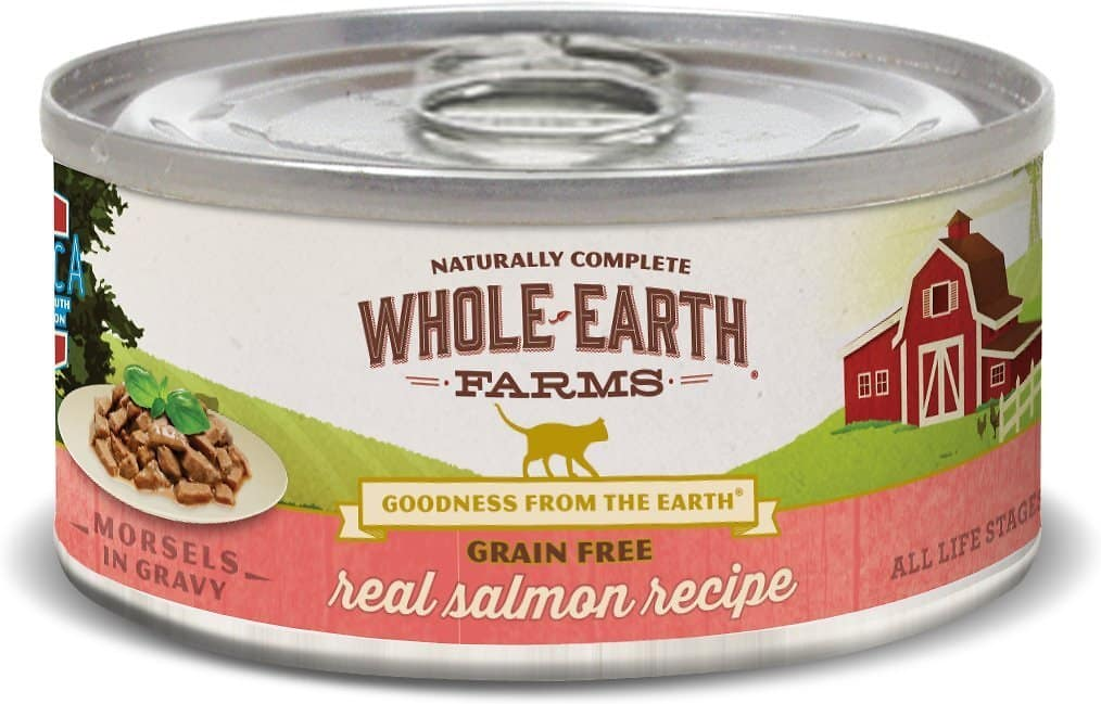 24-Pack Whole Earth Farms Grain-Free Morsels in Gravy Salmon Recipe Canned Cat Food (5-Oz each) $18.20 or less w/ Autoship + F/S $49+