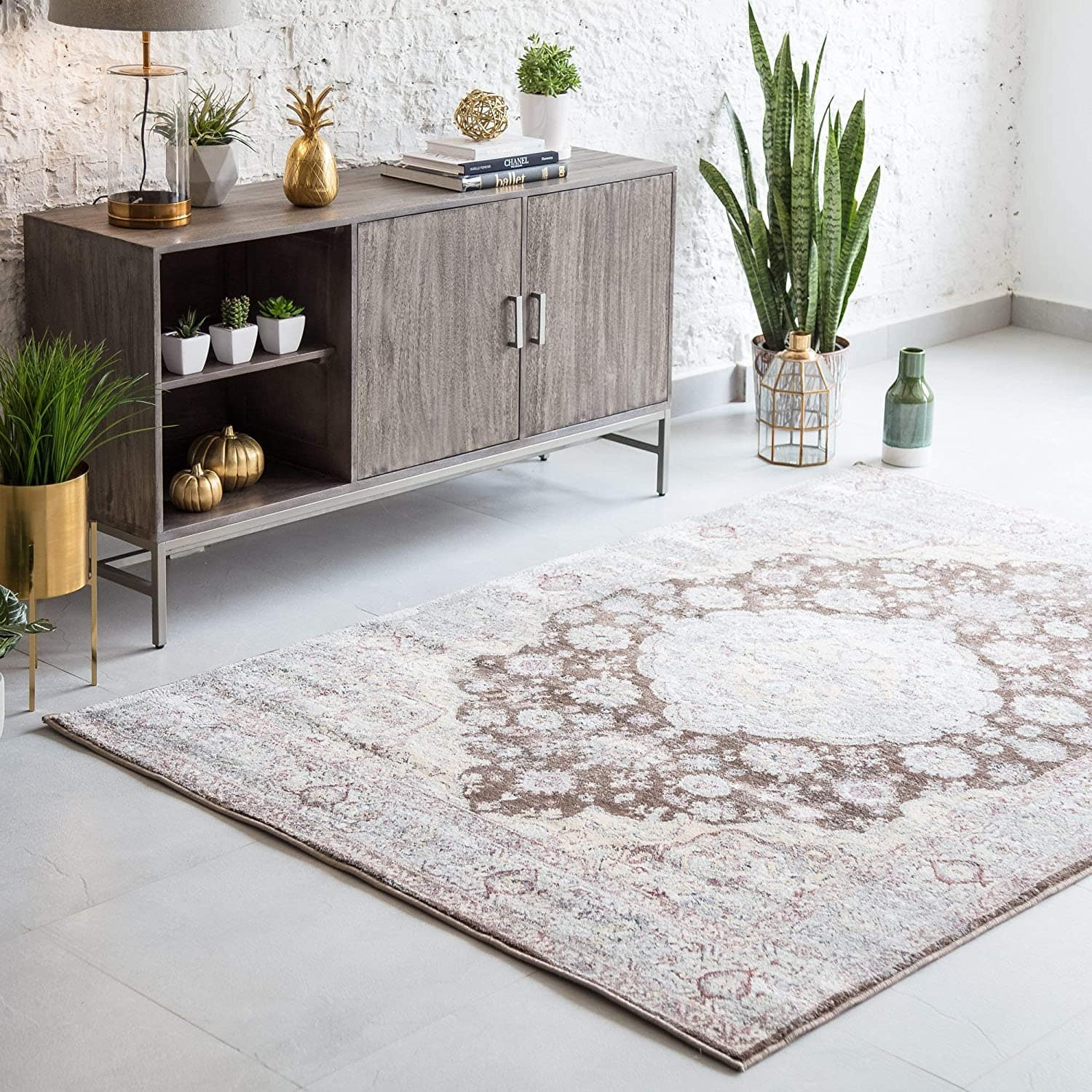 """5'3"""" x 7'6"""" Madeleine Home Delphine Microfiber Area Rug (Beige, Blue, or Gray) $43 + Free Shipping $49+"""