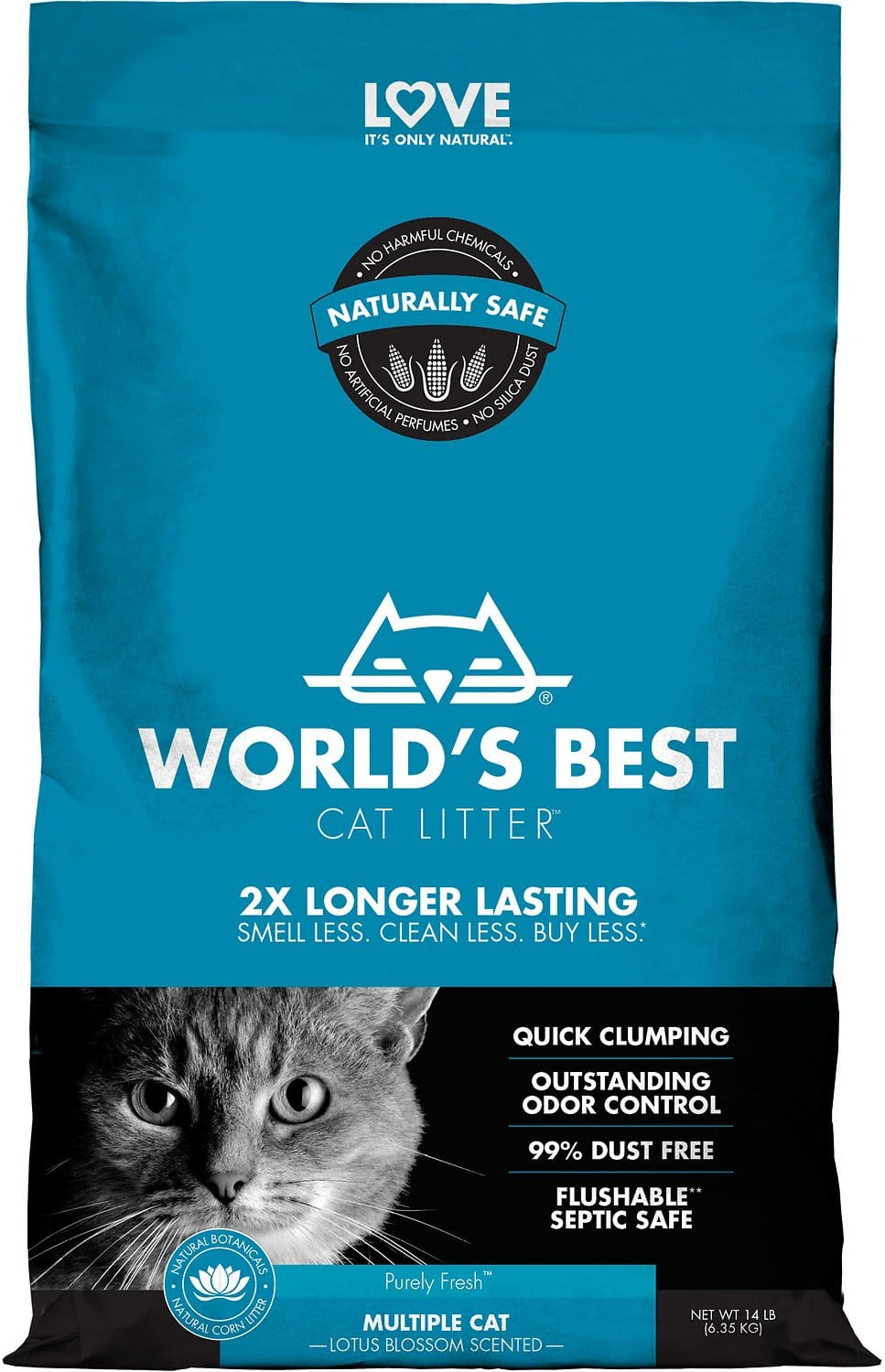 World's Best Multiple Cat Lotus Blossom Scented Clumping Corn Cat Litter: 14-Lbs $10.90, 28-Lbs $20.35 or less w/ Autoship + F/S $49+