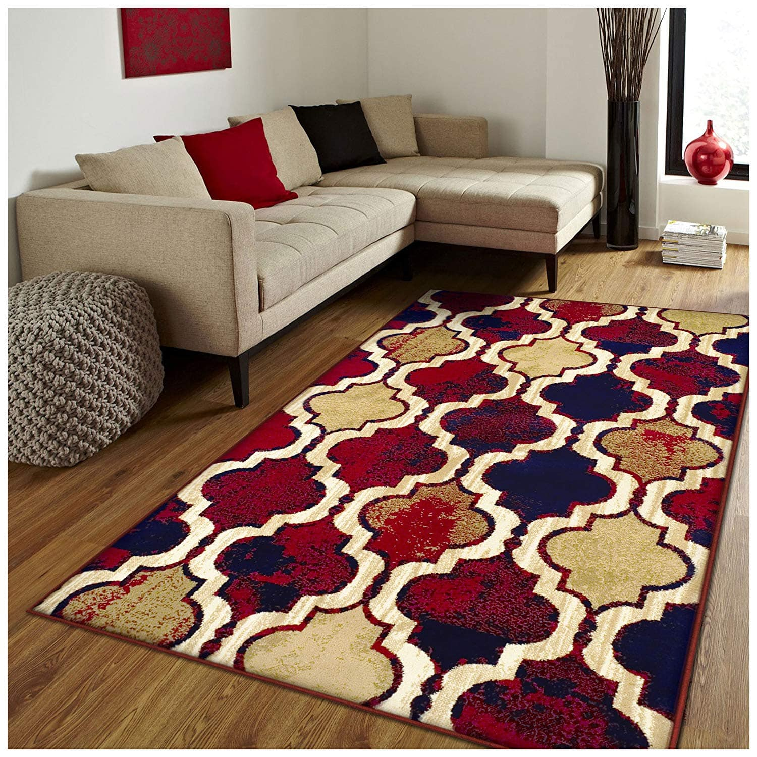 5' x 8' Impressions Zisa Modern Indoor Area Rug (Red/Blue) $36.85 + Free Shipping