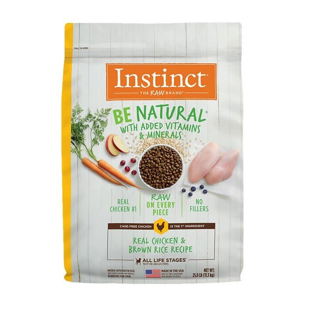 25-Lbs Instinct Be Natural Freeze-Dried Raw Coated Dry Dog Food $27.95 or less w/ Autoship + Free Shipping $49+ or w/ Amazon Prime
