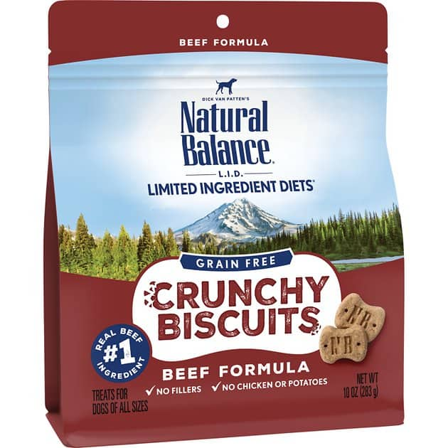 10-Oz Natural Balance L.I.D. Crunchy Biscuits Beef Formula Dog Treats $3.55 w/ Autoship + F/S $49 + or $3.75 w/ S&S + F/S w/ Amazon Prime