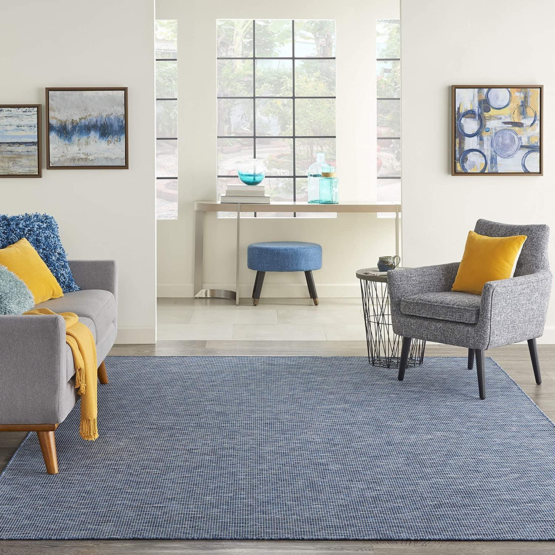 5' x 7' Nourison Positano Flat-Weave Indoor/Outdoor Area Rug: Navy Blue or Aqua $37.05, Yellow $37.10 & More + Free Shipping
