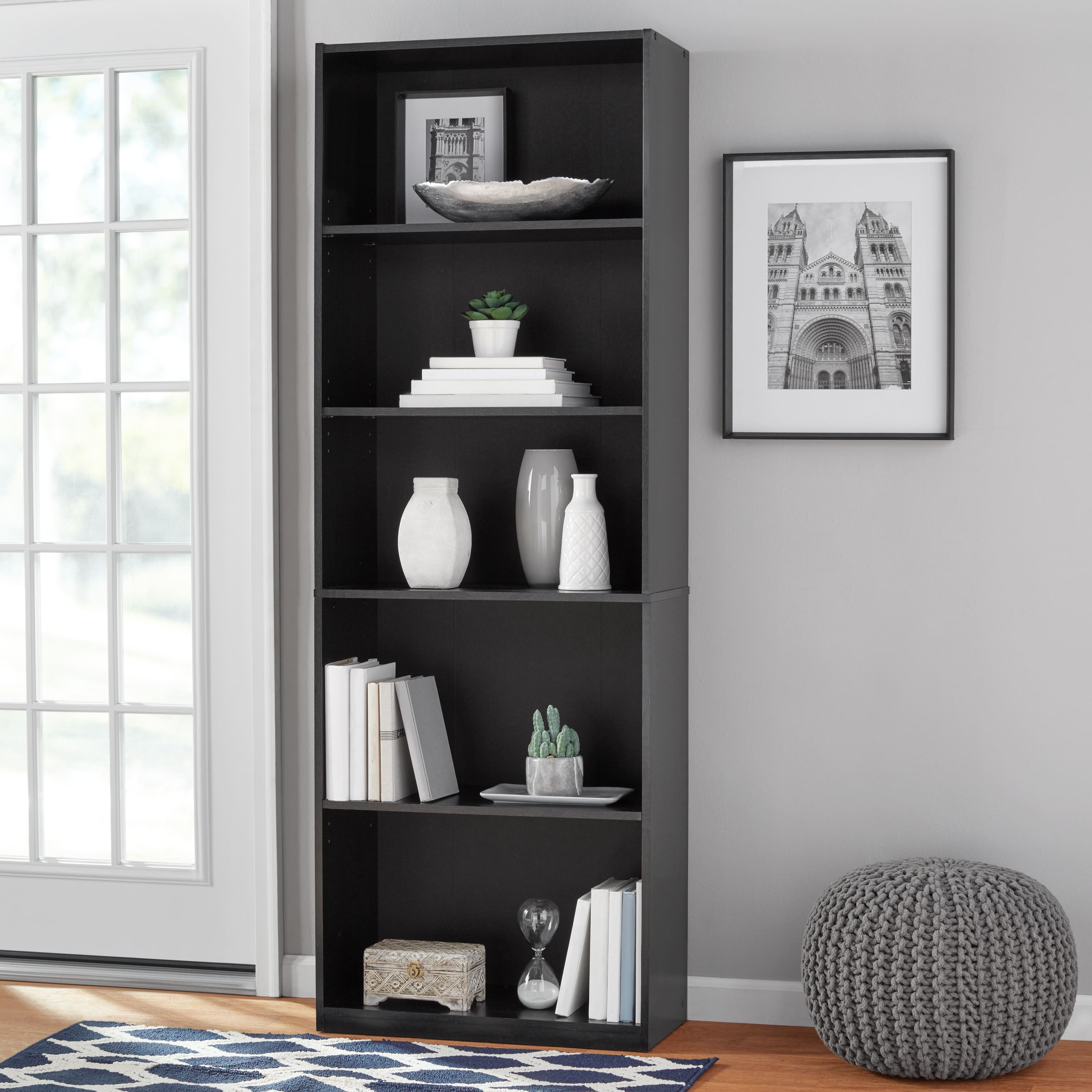"71"" Mainstays 5 Shelf Bookcase (Black or White) $29.90 + Free Shipping w/ Walmart+ or Orders $35+"