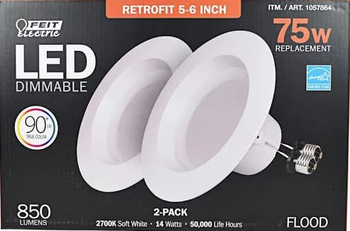 Feit LED 2 Pack Retrofit Kit, Replaces 5-6 inch, Soft White 2700K, 850 Lumens $6.97