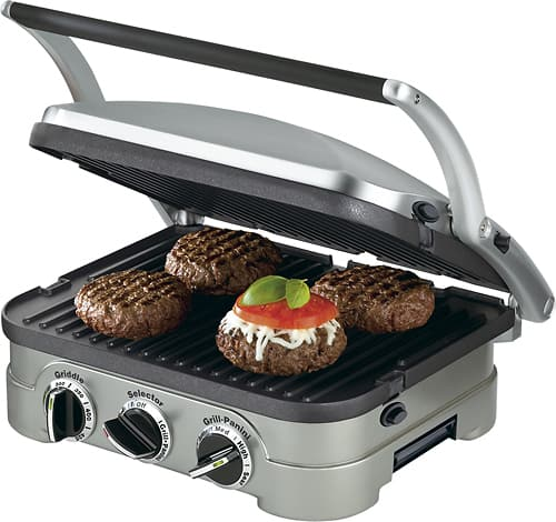 Cuisinart - Griddler Stainless Steel 4-in-1 Grill/Griddle and Panini Press - Brushed Stainless-Steel/Black $39