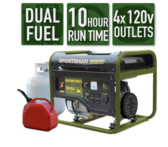 4,000/3,500-Watt Dual Fuel Powered Portable Generator $289