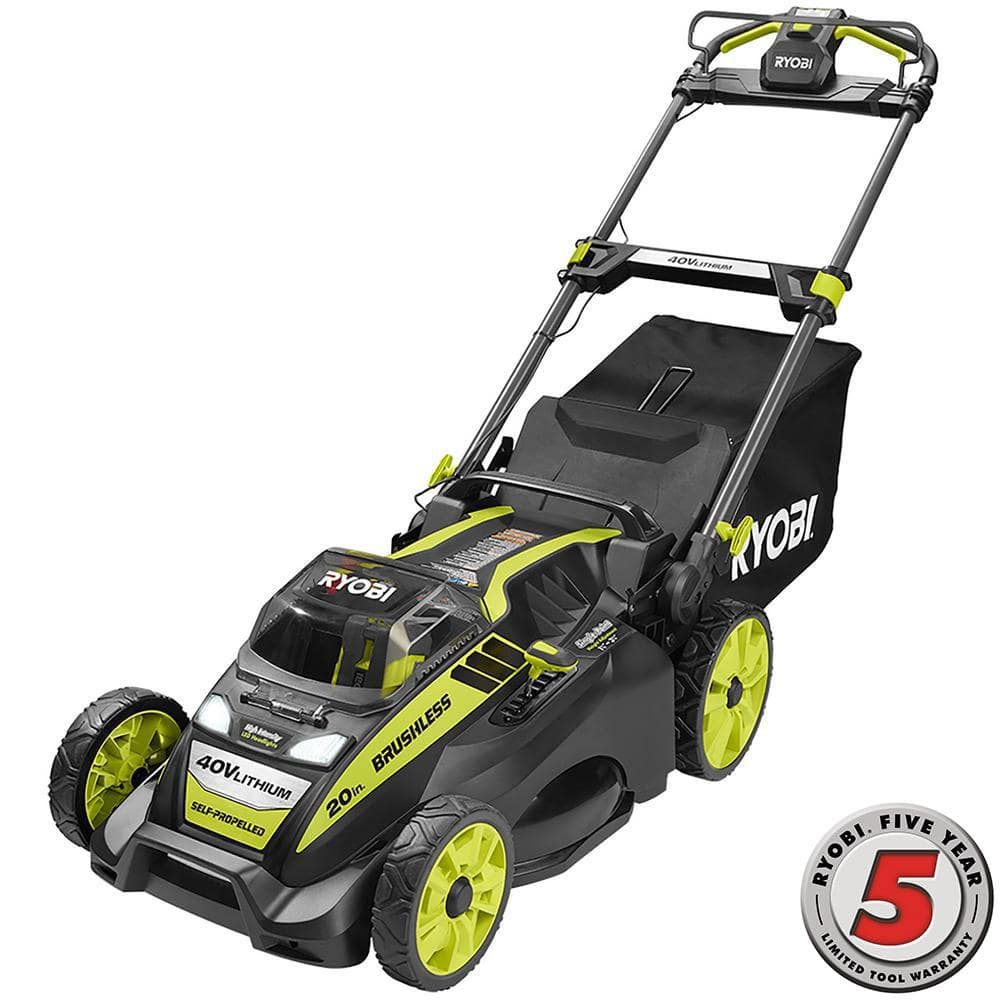 YMMV Home Depot Clearance: Ryobi 20 in. 40-Volt Brushless Self Propelled Lawn Mower with 5.0 Ah Battery and Charger Included - $250 (down from $299) $249.99