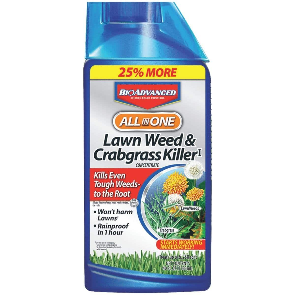 BioAdvanced All-in-One Lawn Weed & Crabgrass Killer 40 oz Concentrate for Dandelions, Crabgrass & Clover 50% off + Rebate $2