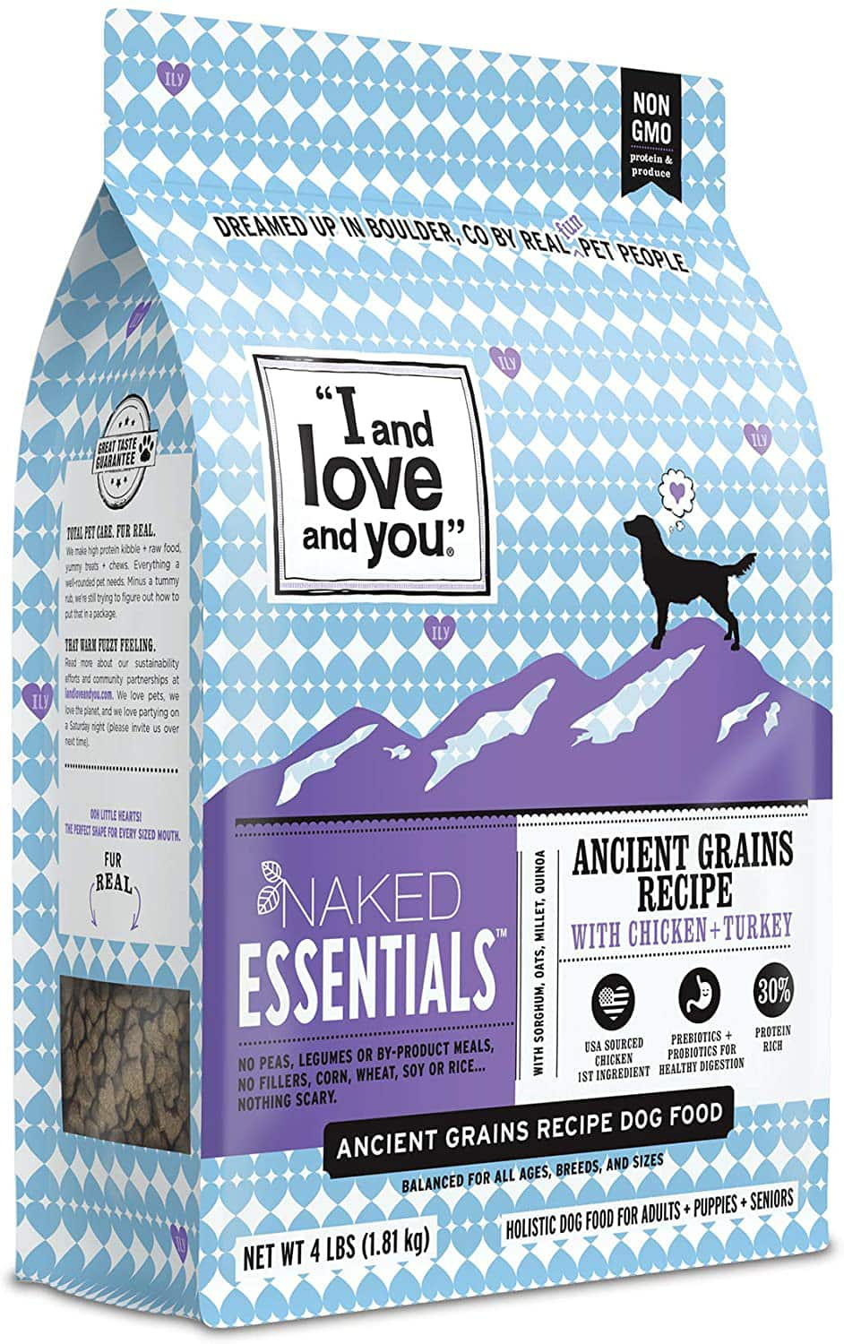 Amazon.com: $5.78 w/ coupon and s&s I and love and you Naked Essentials Dry Dog Food - Ancient Grains Kibble, Chicken + Turkey, 4-Pound Bag (Trial Size): Pet Supplies $5.78
