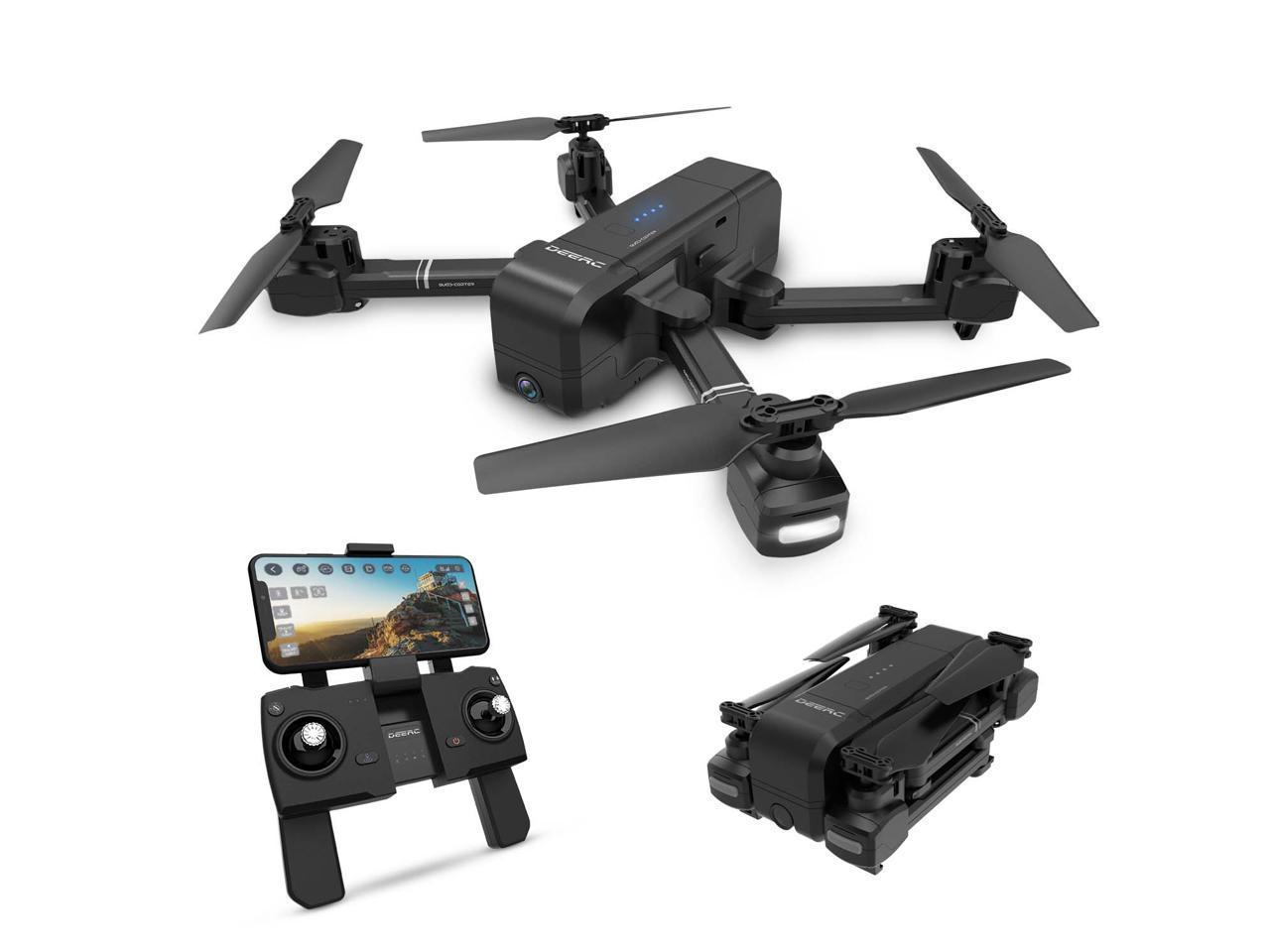 DEERC - DE25 Foldable GPS Wifi FPV Drone with 1080P Camera, Gesture Photo/Video, Custom Flight, Black $89.99