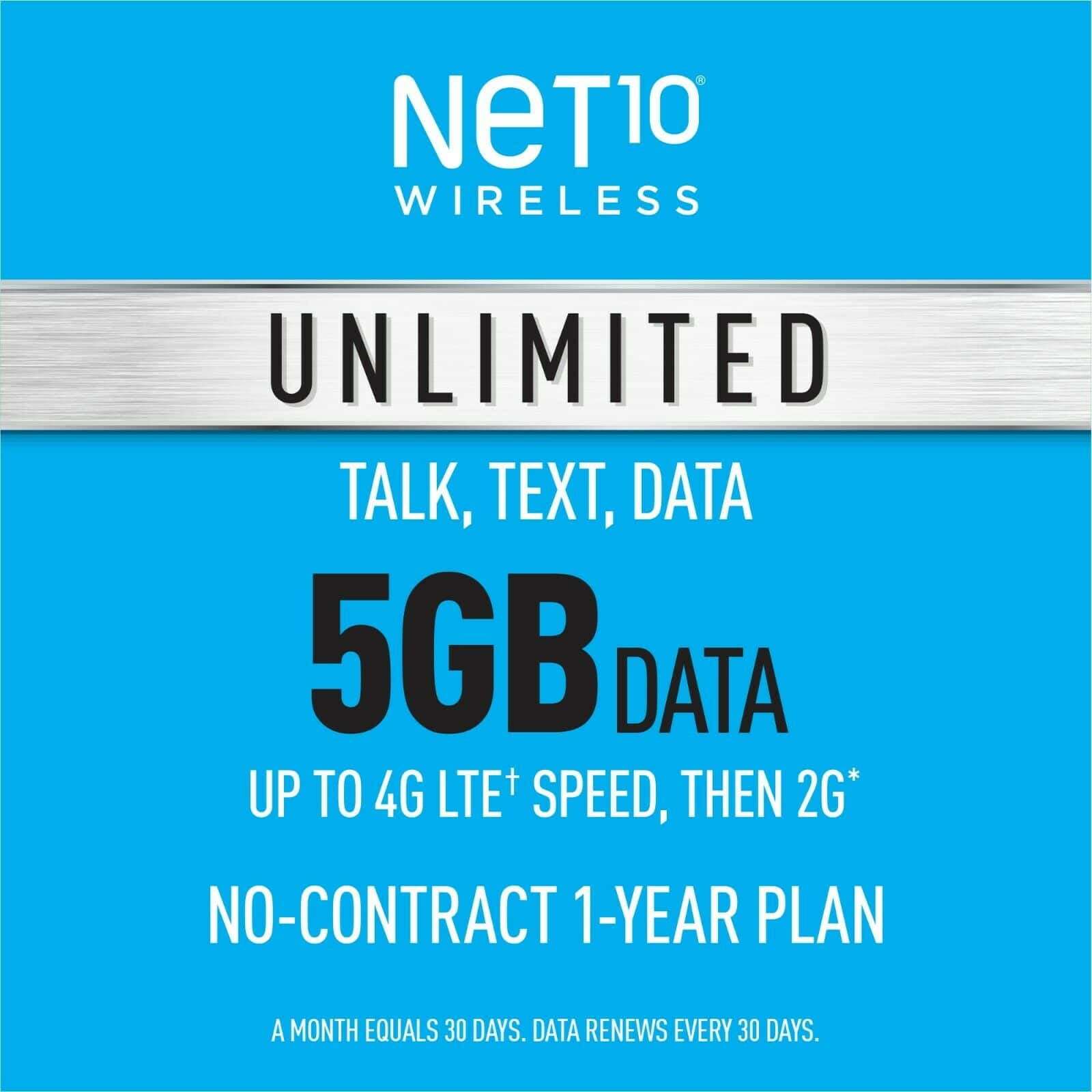 """Net10 Prepaid Wireless Phone ANNUAL Plan with three SIM cards - Unlimited Talk & Text 5GB per Month for $159.99 after 20% off code """"INSTANT20"""" at eBay"""