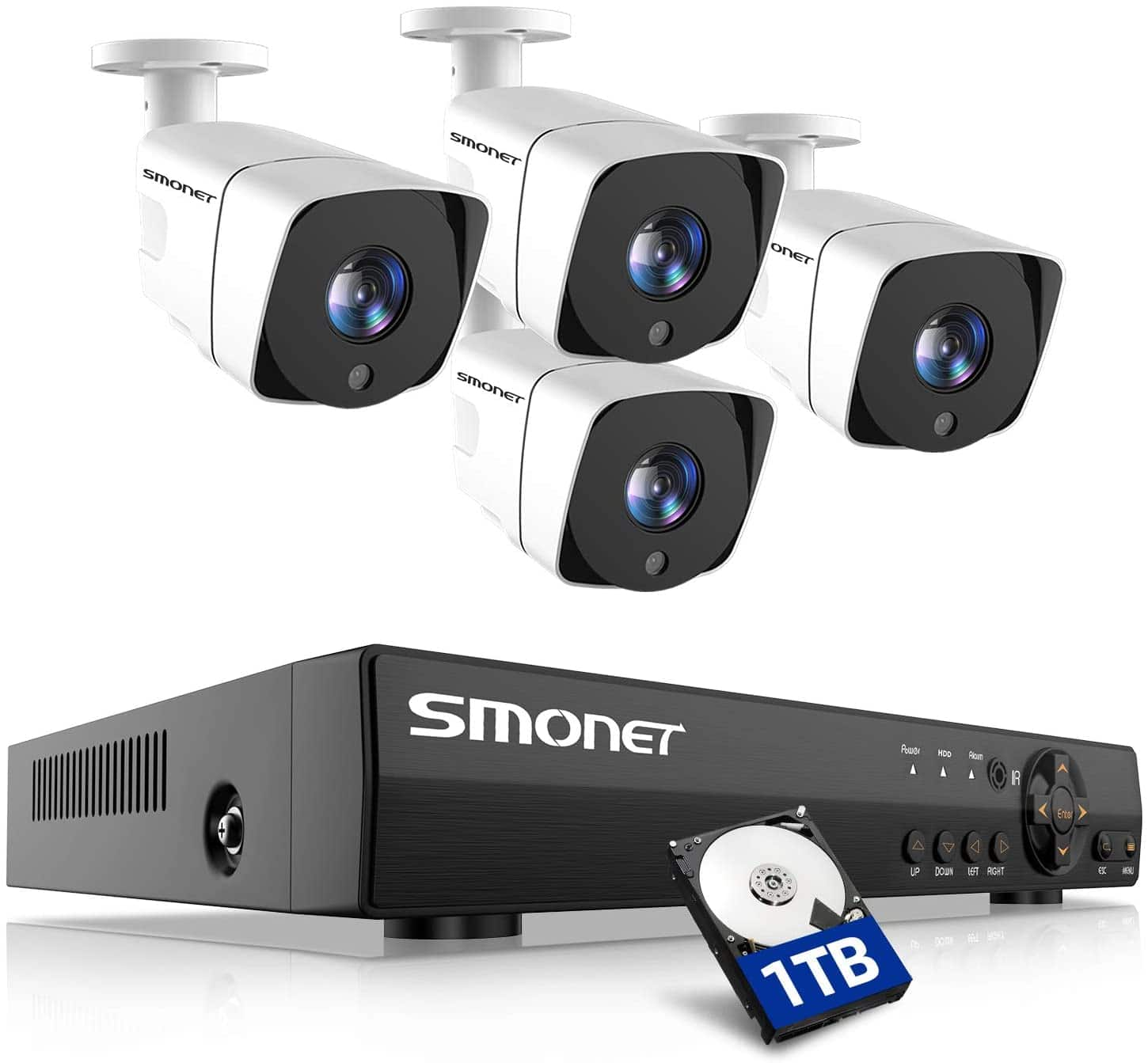 139.99 Smonet Wired DVR with 4 Cameras, and a 1TB hard Drive $139.99