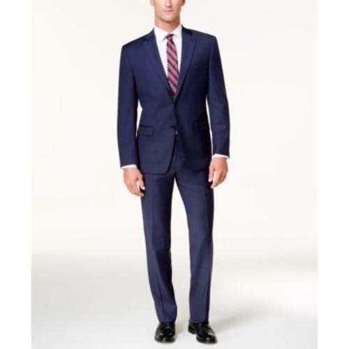 Lauren Ralph Lauren Men's Classic-Fit Dark Blue Windowpane Ultraflex Suit $129.99