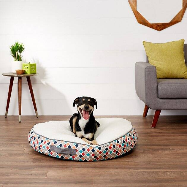 """35"""" Frisco Sherpa Lounger Circular Dog Bed, Large $26.55 + Free Shipping over $49"""