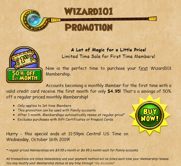 Wizard101 50% Off First Month of Membership $4.95