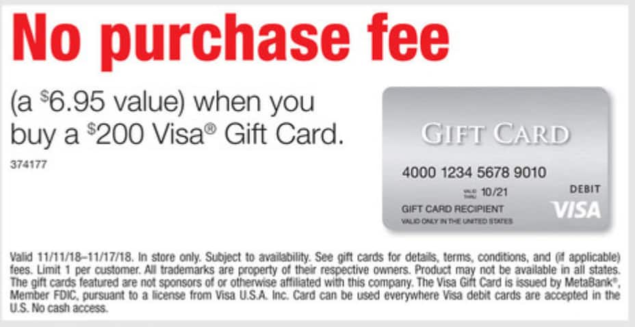 Staples Weekly Ad: 11/11 - 11/17 - No purchase fee when you buy a $200 Visa® Gift Card IN STORE ONLY