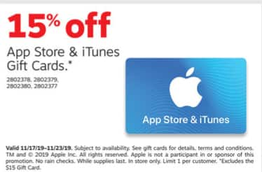 Staples Weekly Ad 11/17 - 11/23: 15% off itunes Gift Cards (In-Store Only)