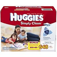 Amazon Deal: 648-Count Huggies Simply Clean Fragrance Free Baby Wipes Refill