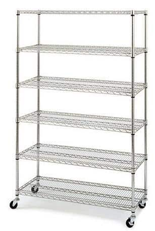 Black/Chrome Commercial 6 Layer Shelf Adjustable Steel Wire Metal Shelving Rack w/Casters $69.99 FREE Shipping