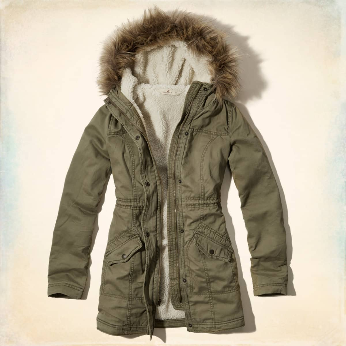 Girls' Sherpa-Lined Jack Creek Twill Parka (Olive Green)  $28 + $5 shipping