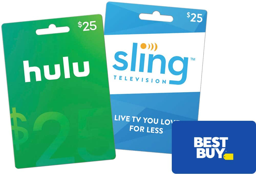 Free $5 Best Buy Gift Card with $50 or more in Hulu or Sling TV gift cards