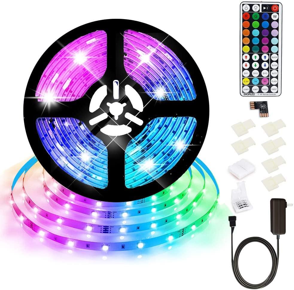 Led Strip Lights 16.4ft RGB Color Changing Light Strips 5050 Black LED Strip Kit with 44 Keys RF Remote $8.29+FS