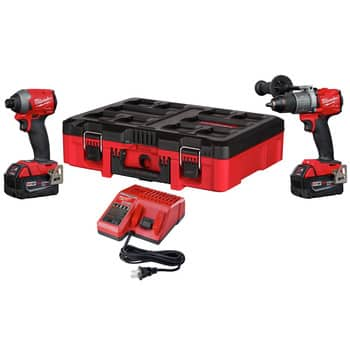 Milwaukee M18 FUEL 2-Piece Combo Kit with PACKOUT (Hammer Drill, Impact Driver, 2 5ah batteries, charger & PACKOUT box) $322.99