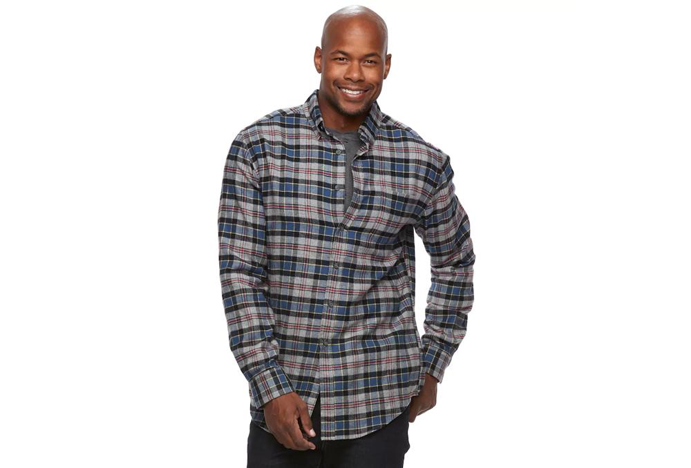 Men's Croft & Barrow® True Comfort Plaid Classic-Fit Flannel Button-Down Shirt $7.99 @Kohls AC