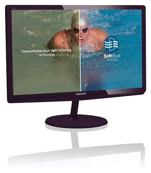 "$99.99 Philips 247E6BDAD 24"" Class Full HD / Soft Blue/Anti-Blue Light LED-LCD Monitor 2ms @ Amazon"