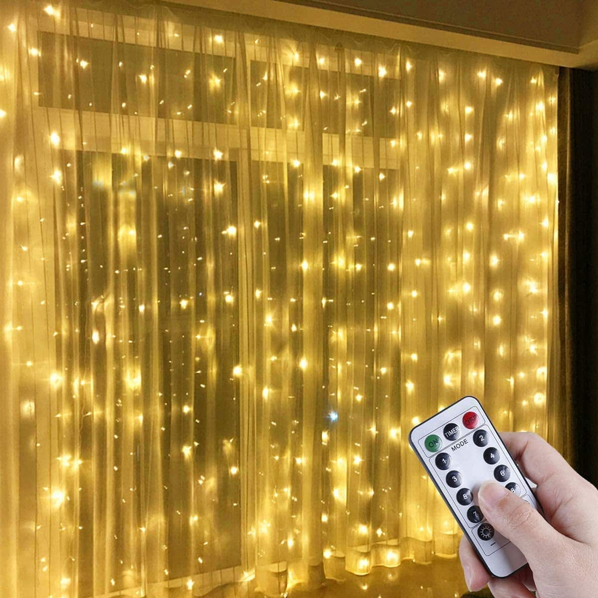 LED Window Curtain String Light, 300 LED Warm White Window Fairy String Lights with 8 Modes $10.19+Fs