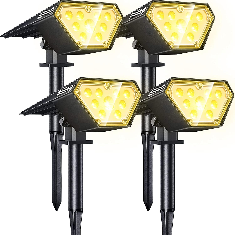(4 Pack) Biling Solar Spotlights Outdoor, 2-in-1 Solar Landscape Lights 12 LED Bulbs Solar Powered Lights  $40.19+Free Shipping